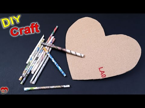 DIY Newspaper Heart Making at Home   Cardboard Craft   Best Out of Waste