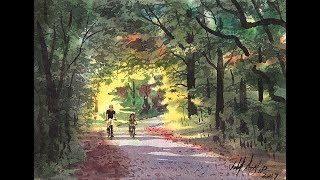 Watercolor Bicycle Trail Tutorial