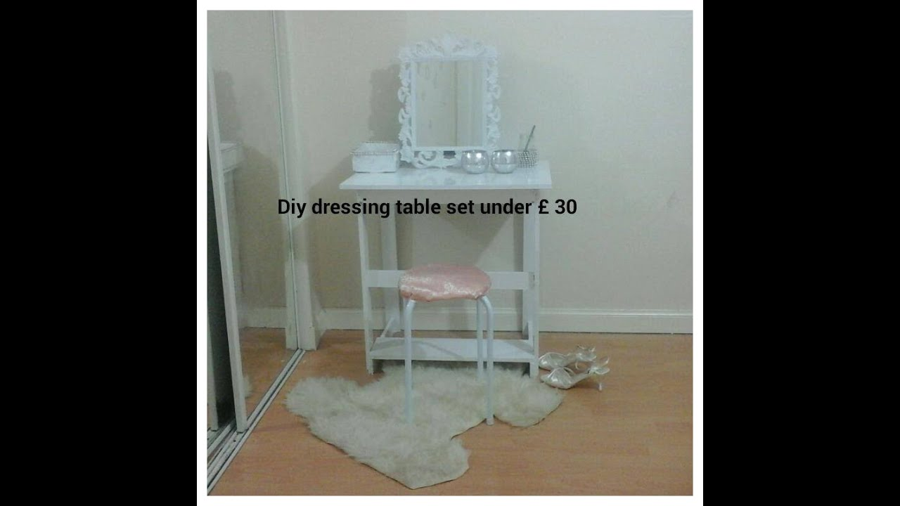 diy dressing table set under 30 youtube. Black Bedroom Furniture Sets. Home Design Ideas