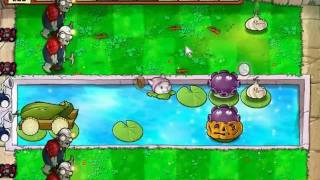 Plants vs Zombies - No Sunflower Strategy 2 Survival Hard ( Pool )
