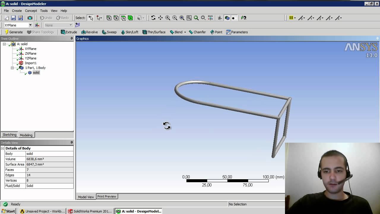 Tutorial ansys 008 exportação de geometria do solidworks para.