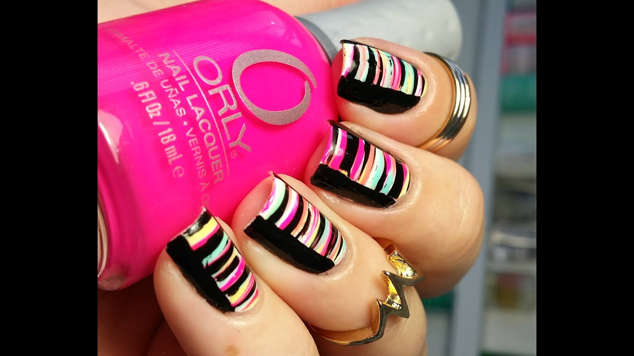 Bright fan brush nail art - YouTube