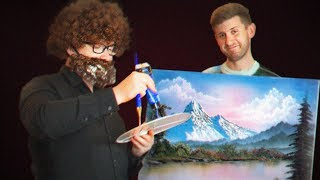 Painting A Bob Ross Painting As Bob Ross On A Bob Ross Painting!