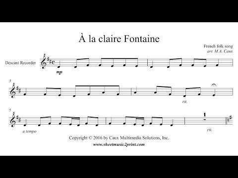 À la claire Fontaine - Descant Recorder
