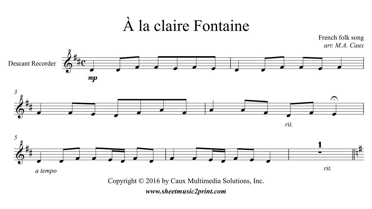 Uncategorized A La Claire Fontaine la claire fontaine descant recorder youtube
