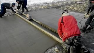 видео Укладка бетонных полов в зимнее время. Особенности, трудности.