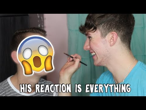 DOING MY LITTLE BROTHER'S MAKEUP!