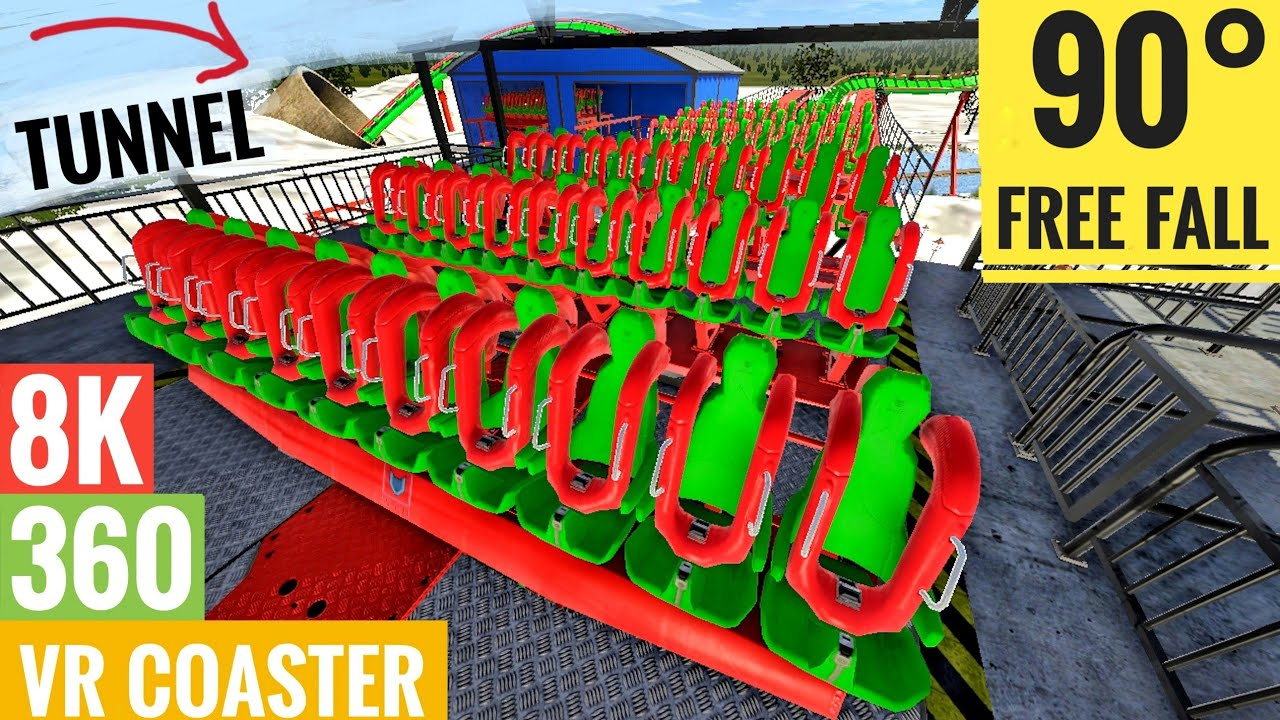 8K Rollercoaster VR 360°- POV 3D Video Split Screen SBS 360 Tunnel Christmas Elf Snow Ride
