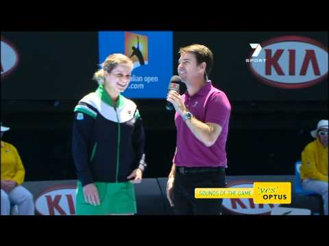 Kim Clijsters chided commentator Todd Woodbridge at the Australian Open