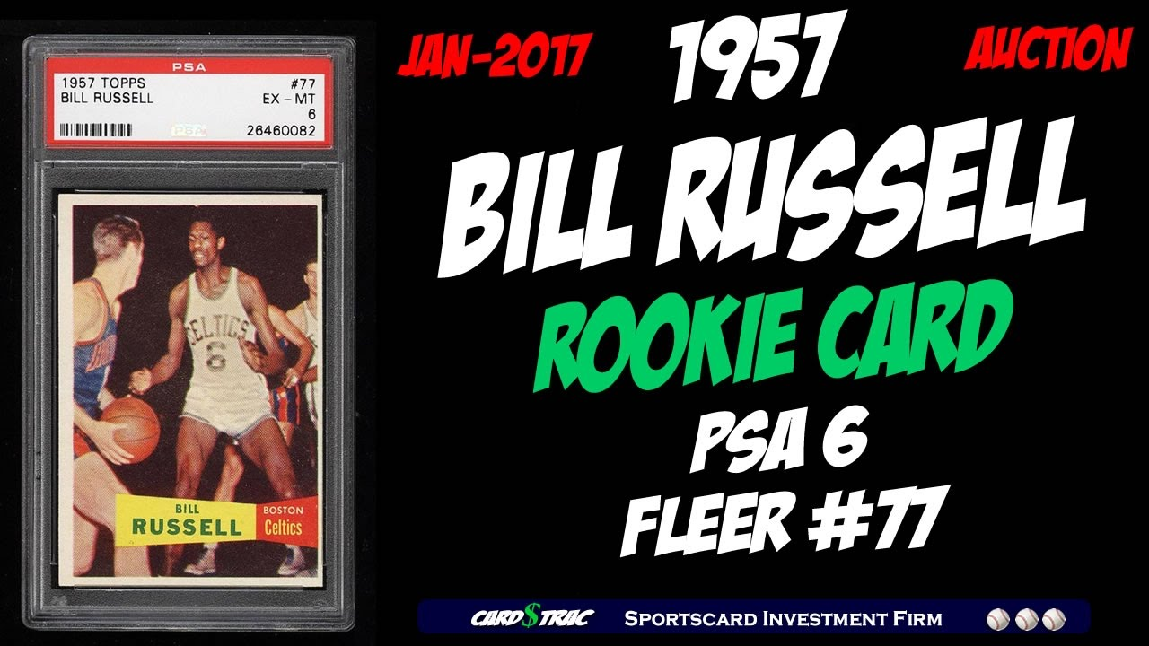 1957 Bill Russell Rookie Card For Sale Graded Psa 6 1957 Bill Russell Rookie Card Topps 77