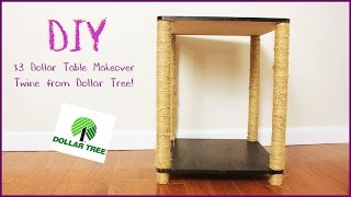 $5 Dollar Tree Up-cycle Challenge - Collab - Side Table Make Over Using Dollar Tree Twine