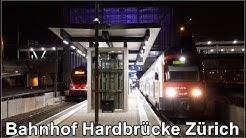 Nachts beim Bahnhof Hardbrücke Zürich, Schweiz 2018