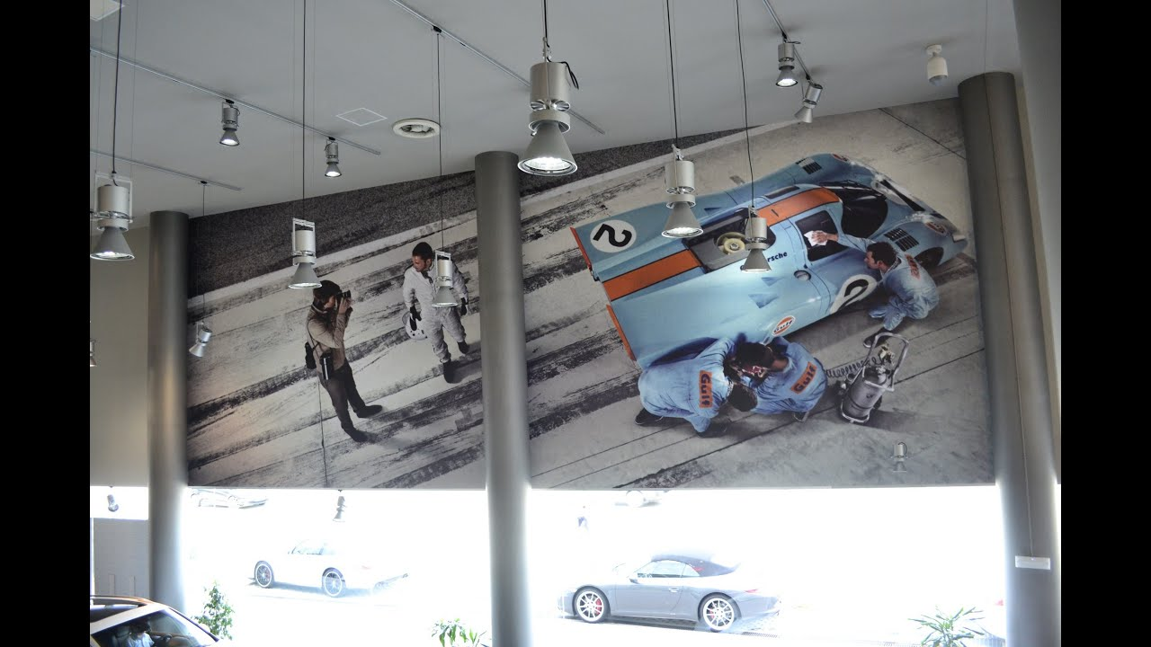 Decorar Pared Porche Te Gustan Las Gigantografias En Paredes Wall Wrap Centro Porsche Barcelona By Pronto Rotulo