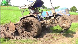 Sonalika 60 stuck in mud after Pudlling very badly