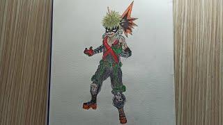 anime çizgi film karakteri katsuki bakugou çizim  drawing anime cartoon character katsuki bakugou