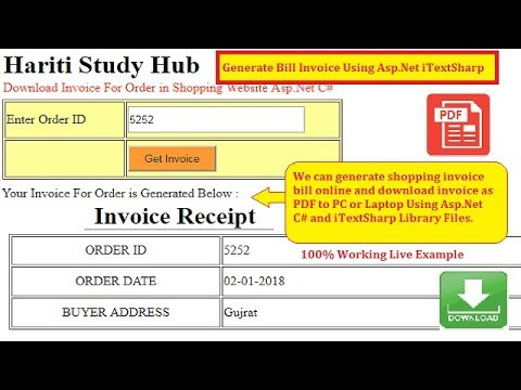 Download Invoice Receipt as PDF For Order in Shopping Website Asp