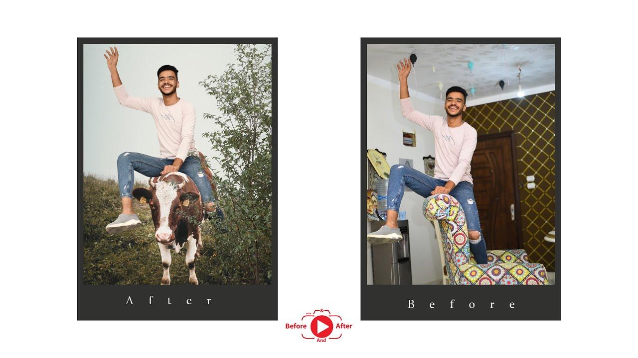 photo manipulation Make the boy ride a cow