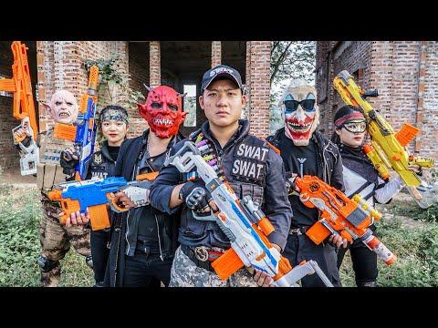 LTT Films : Couple Silver Flash Nerf Guns Fight Attack Criminal Group Tiger Mask Mission Capture Rob