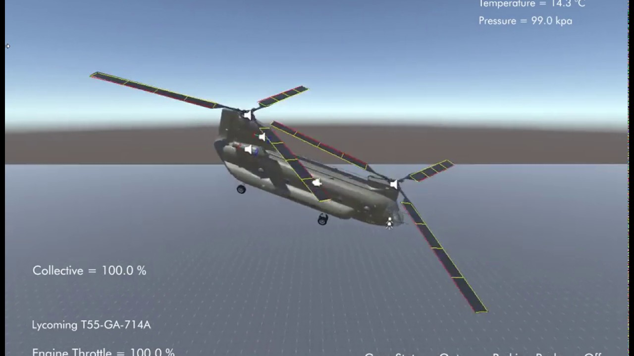 Silantro Unity3D Helicopter Simulator: CH-47 Chinook Flight Test