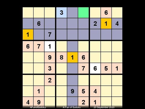 How to Solve Los Angeles Times Sudoku Expert September 20, 2020