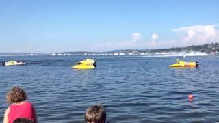 sea fair F1 boats leaving dock.