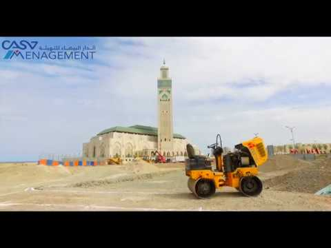 Survol du chantier de  la Promenade Maritime de la mosquée  Hassan II
