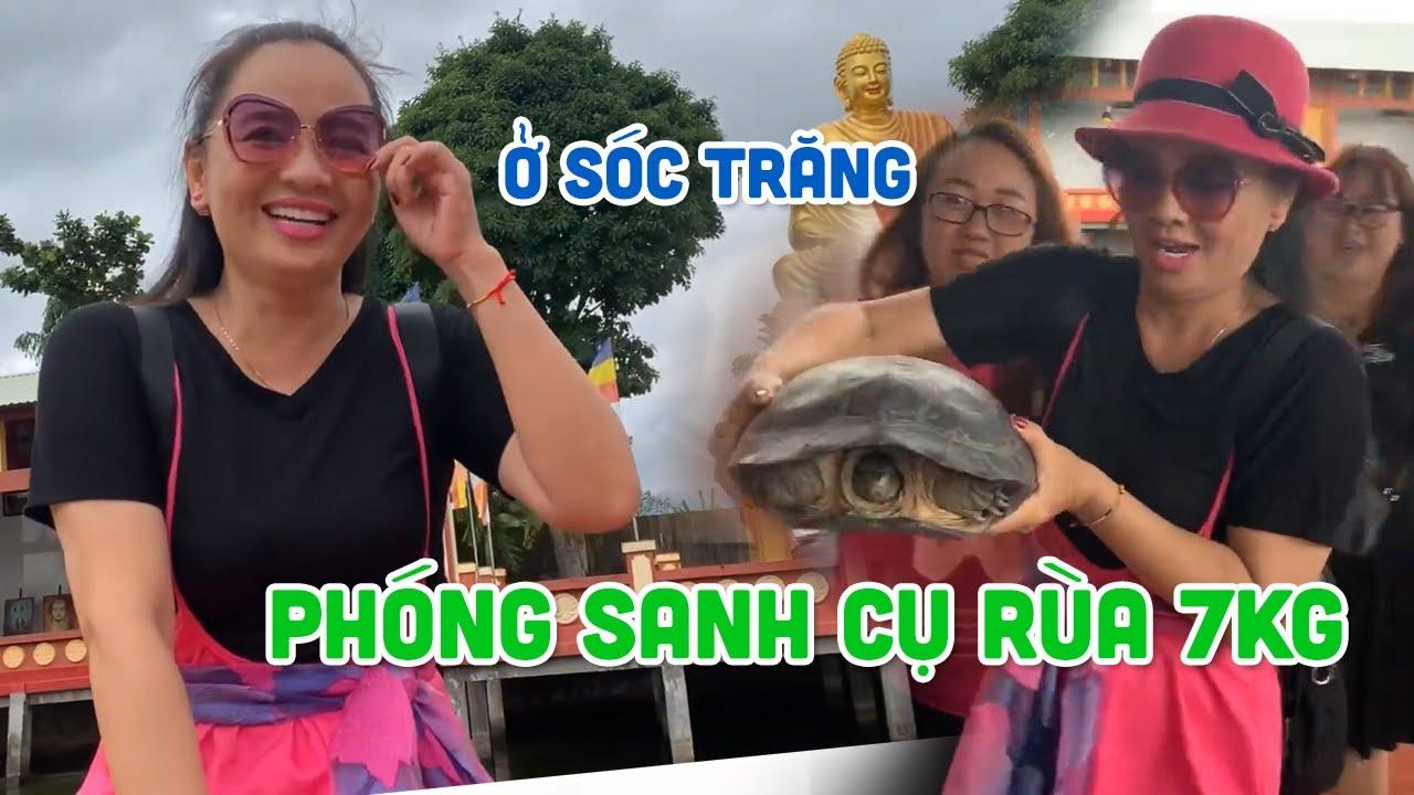 Hoài An phóng sanh cụ Rùa nặng 7kg ở Chùa Quan Âm Linh Ứng - Sóc Trăng