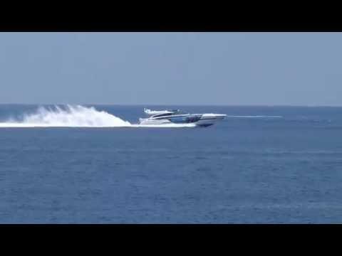 A Baia 100 fast motor yacht near Antibes, France