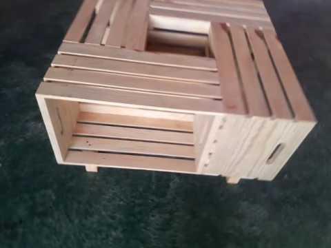 Mesas de madera con huacales youtube for Mesas de centro de madera para sala