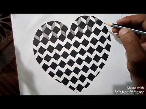 How to Draw  3D Heart?Easy trick  art The BN Creations.