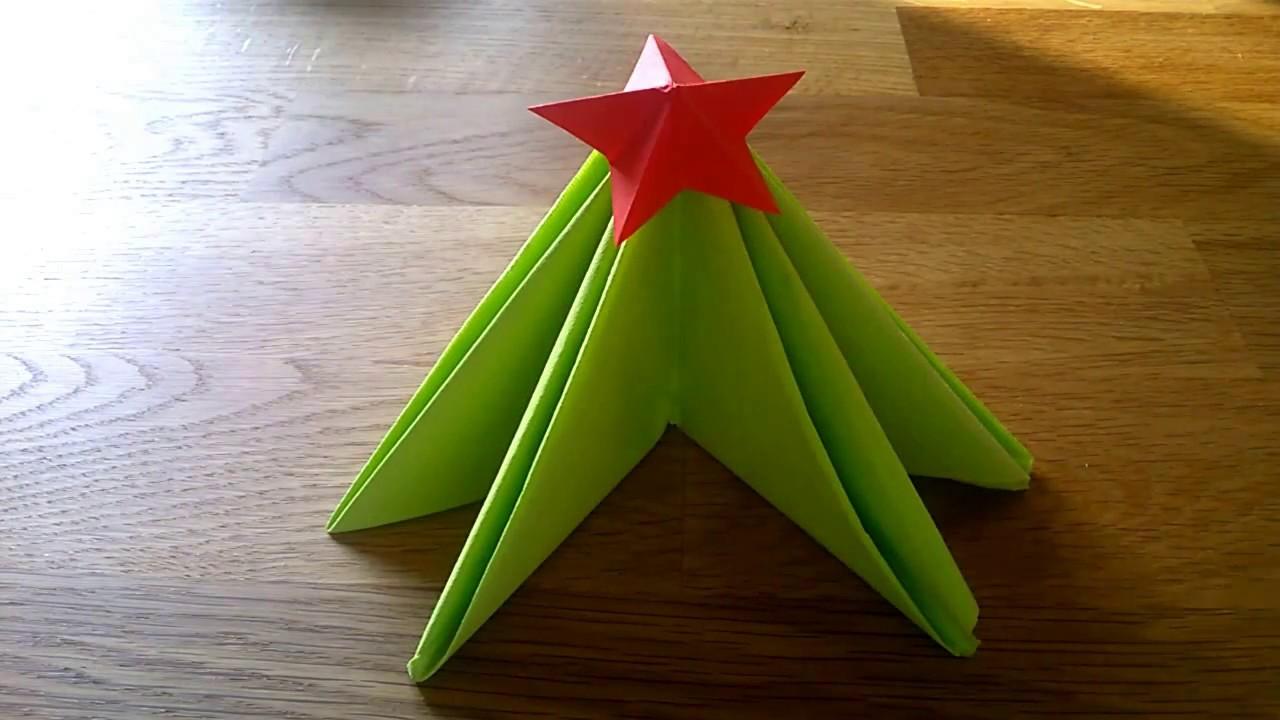 Tovaglioli Stella Di Natale.Come Piegare Il Tovagliolo Albero Di Natale Con Stella
