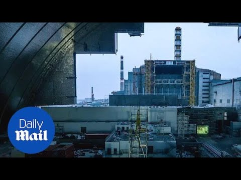 Inside the huge new confinement structure over Chernobyl reactor 4