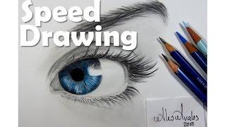 Drawing Time Lapse a blue eye    Dibujando un ojo   Ojos azules