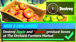 Destroy Apple and Tomato Produce Boxes at The Orchard Farmers Market - Fortnite