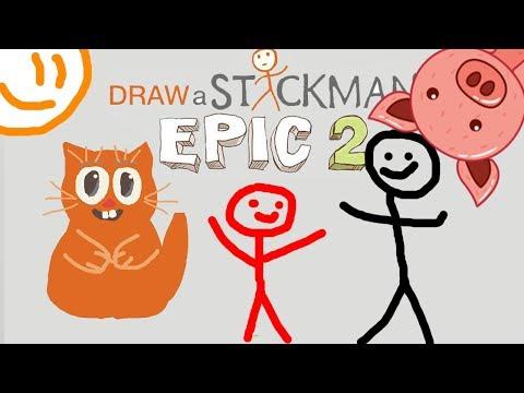 ПОГОНЯ ЗА СВИНКОЙ в игре СТИКМЕН Draw a Stickman EPIC 2 говорящий КОТ ДЖЕМ играет детский летсплей
