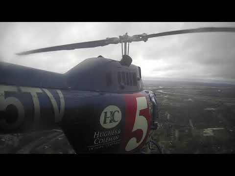 Sky 5 flies over flooding on Cumberland River