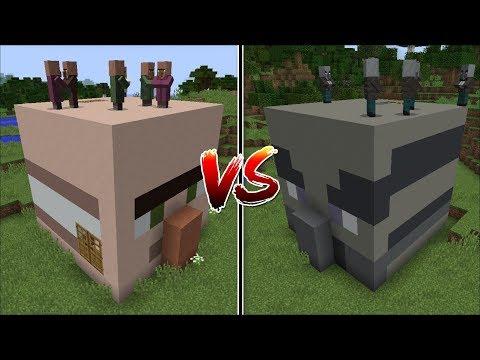 Minecraft VILLAGER HEAD VS VINDICATOR HOUSE MOD  BEST VILLAGE IN MINECRAFT !! Minecraft