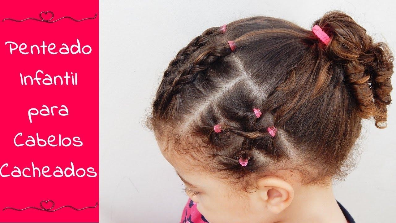Penteado Infantil Para Cabelos Cacheados Penteado Com Elásticos E Tranças