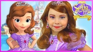 Sofia The First Kids Makeup Disney Princess Pretend Play with Toy & DRESS UP in Real Princess Dress