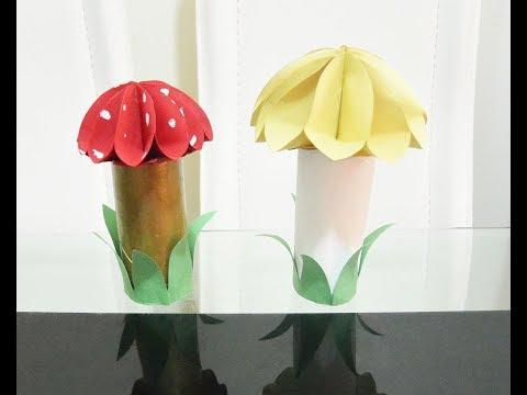 Paper Mushroom DIY, Art & Craft, Life Hack