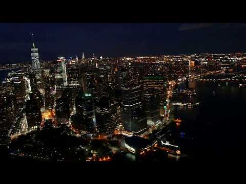 New York City: Battery Park / Freedom Tower at Night (aerial)