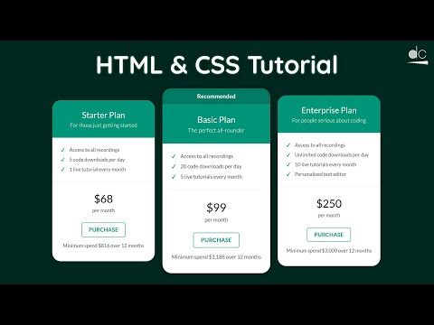 How To Create A Pricing Plans Table - HTML & CSS Tutorial (Web Design)