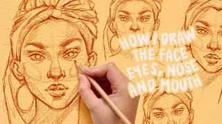 how to draw faces, eyes, nose, moขth | tutorial