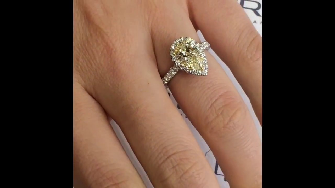 engagement rings yellow ring ct shaped pear shape watch youtube diamond