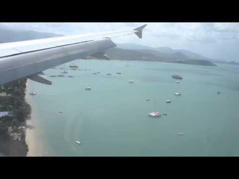 Full Approach and Landing to Koh Samui Airport, Bangkok Air Airbus 319, Thailand
