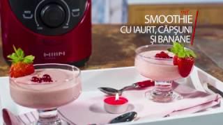Smoothie cu iaurt capsuni si banane, la Blender Ozen cu mixare in vid HB300RE
