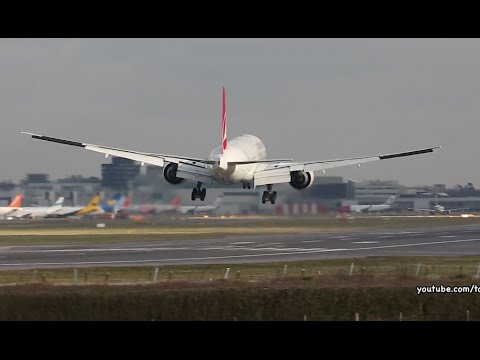 Turkish Airlines Boeing777 emergency gusty crosswind landing  at London Gatwick Airport