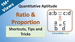 Ratio and Proportion - Shortcuts & Tricks for Placement Tests, Job Interviews & Exams