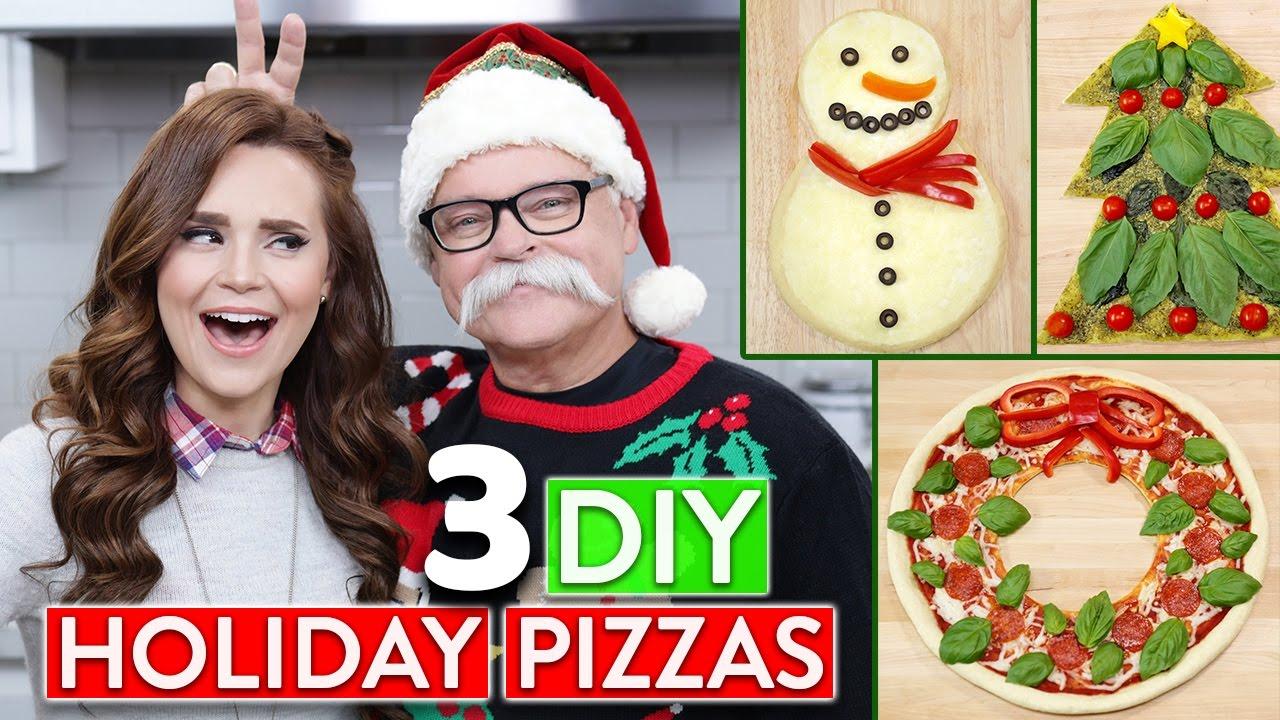 3 DIY HOLIDAY PIZZAS w/ my Dad! - YouTube