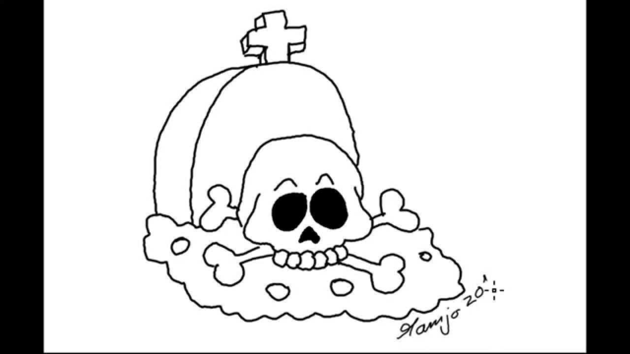 Lets Draw Happy Halloween 2014 Grabstein Totenkopf Skull Schädel Einfach Zeichnen Easy